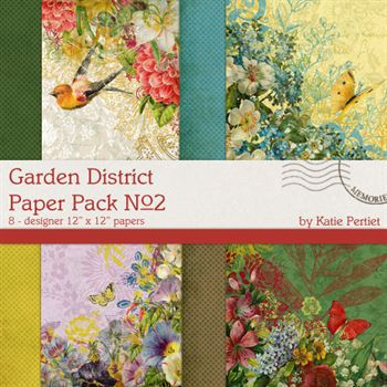 Garden District No. 02 Paper Pack Digital Art - Digital Scrapbooking Kits