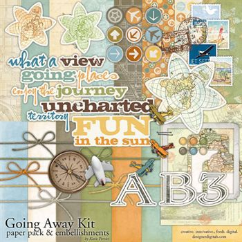 Going Away Kit Digital Art - Digital Scrapbooking Kits