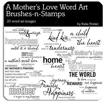 Mothers Love Word Art Megapak Brushes Digital Art - Digital Scrapbooking Kits