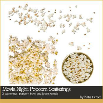 Movie Night Popcorn Scatterings Digital Art - Digital Scrapbooking Kits