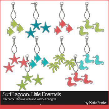 Surf Lagoon Little Enamels Digital Art - Digital Scrapbooking Kits