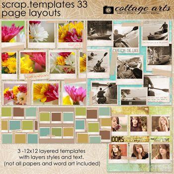 12 X 12 Scrap Templates - Page Layouts 33 Digital Art - Digital Scrapbooking Kits