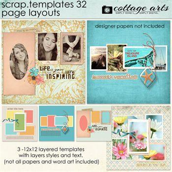 12 X 12 Scrap Templates 32 - Page Layouts Digital Art - Digital Scrapbooking Kits