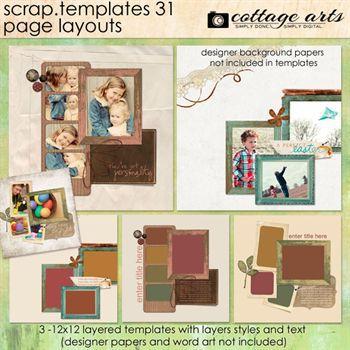 12 X 12 Scrap Templates 31 - Page Layouts Digital Art - Digital Scrapbooking Kits