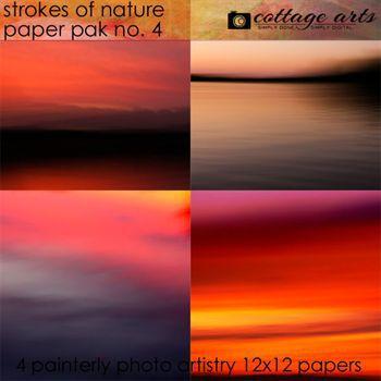 Strokes Of Nature 4 Paper Pak Digital Art - Digital Scrapbooking Kits