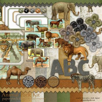 Animal Park Kit Digital Art - Digital Scrapbooking Kits