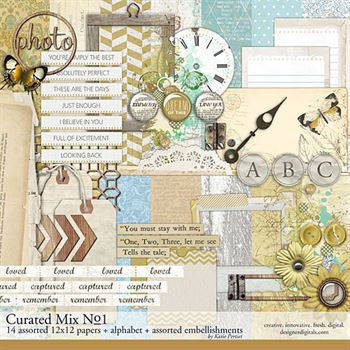 Curated Mix Scrapbooking Kit No. 01 Digital Art - Digital Scrapbooking Kits