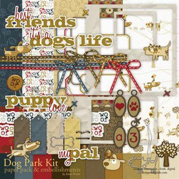 Dog Park Kit Digital Art - Digital Scrapbooking Kits