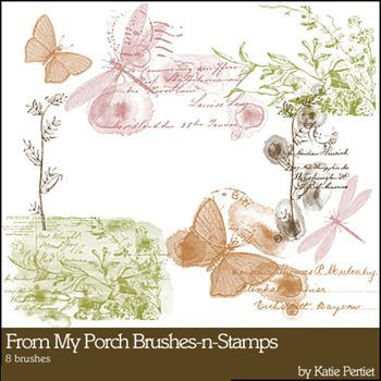 From My Porch Brushes And Stamps Digital Art - Digital Scrapbooking Kits