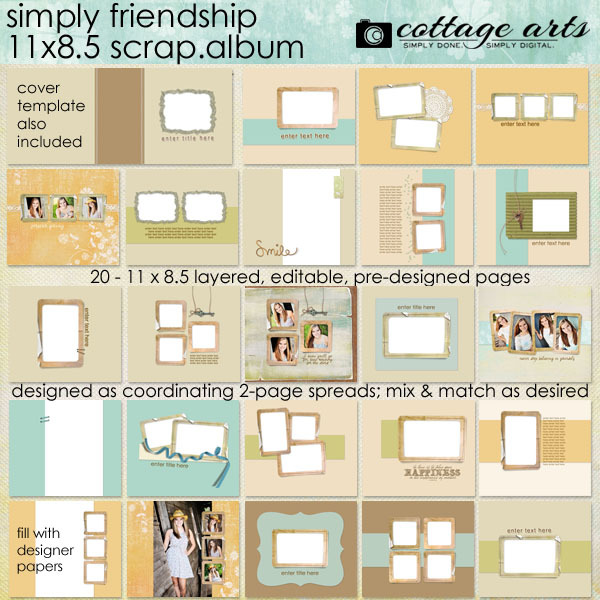 11 X 8.5 Simply Friendship Album Pak Digital Art - Digital Scrapbooking Kits