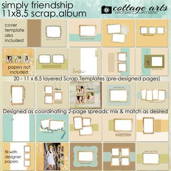 11 X 8.5 Simply Friendship Album Pak Digital Art - Digital Scrapbooking Kits