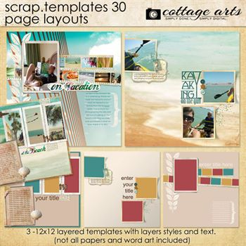 12 X 12 Scrap Templates 30 - Page Layouts Digital Art - Digital Scrapbooking Kits
