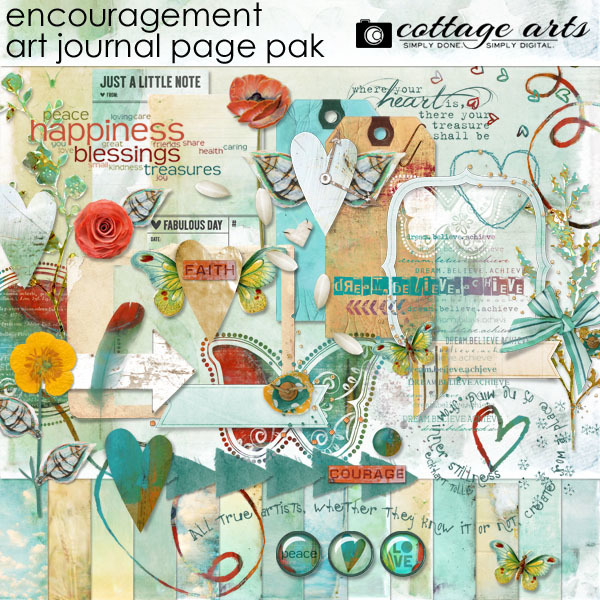 Encouragement Art Journal Page Pak Digital Art - Digital Scrapbooking Kits