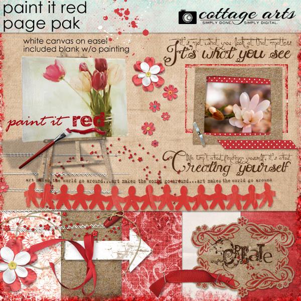 Paint It Red Page Pak Digital Art - Digital Scrapbooking Kits