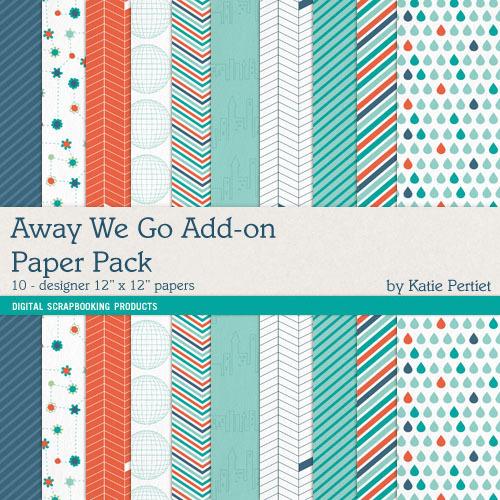 Away We Go Add-on Paper Pack Digital Art - Digital Scrapbooking Kits