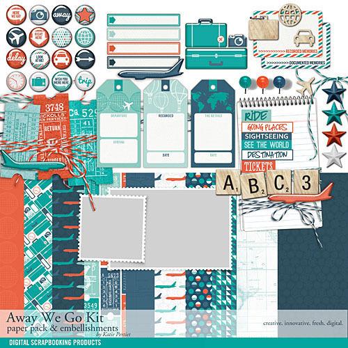 Away We Go Kit Digital Art - Digital Scrapbooking Kits