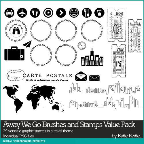 Away We Go Stamps Value Pack Digital Art - Digital Scrapbooking Kits