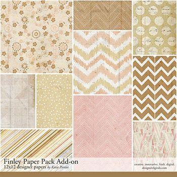 Finley Add-on Paper Pack Digital Art - Digital Scrapbooking Kits