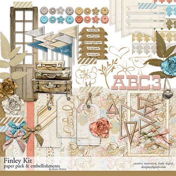 Finley Scrapbooking Kit Digital Art - Digital Scrapbooking Kits