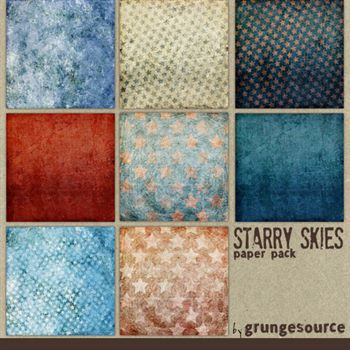 Starry Skies Paper Pack Digital Art - Digital Scrapbooking Kits