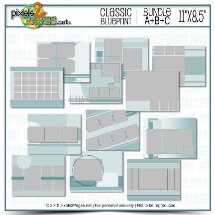 11x8.5 Blueprint Bundle A+B+C Digital Art - Digital Scrapbooking Kits