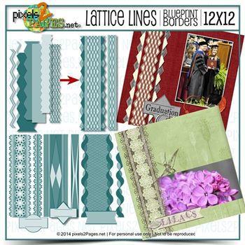 12x12 Blueprint Borders Lattice Lines Digital Art - Digital Scrapbooking Kits