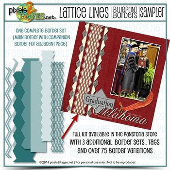 12x12 Blueprint Borders Lattice Lines Sampler Kit Digital Art - Digital Scrapbooking Kits