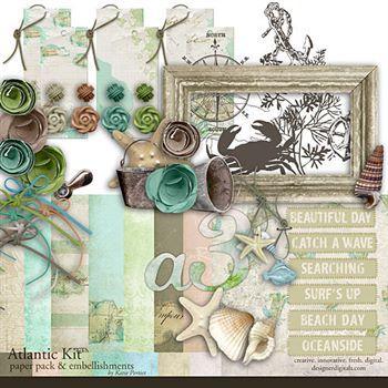 Atlantic Kit Digital Art - Digital Scrapbooking Kits