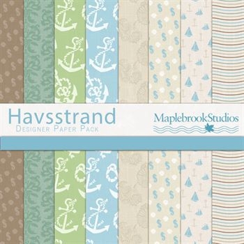 Havsstrand Paper Pack Digital Art - Digital Scrapbooking Kits