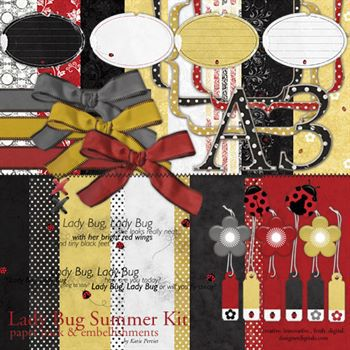 Lady Bug Summer Kit Digital Art - Digital Scrapbooking Kits