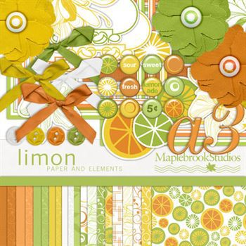 Limon Kit Digital Art - Digital Scrapbooking Kits