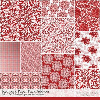 Redwork Add-on Paper Pack Digital Art - Digital Scrapbooking Kits