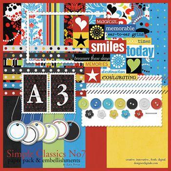 Simple Classics No. 07 Kit Digital Art - Digital Scrapbooking Kits
