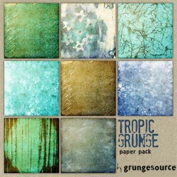 Tropic Grunge Paper Pack Digital Art - Digital Scrapbooking Kits
