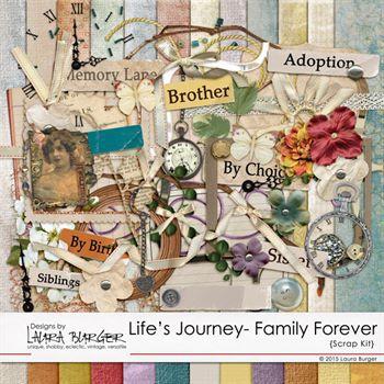 Life's Journey Family Scrap Kit Digital Art - Digital Scrapbooking Kits