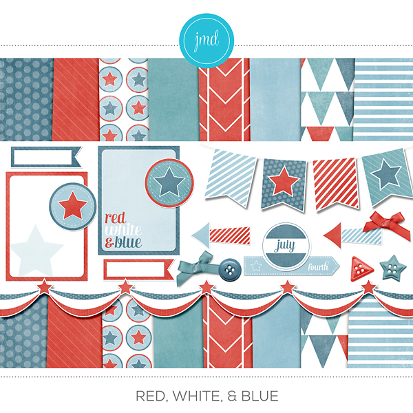 Red, White, & Blue Digital Art - Digital Scrapbooking Kits
