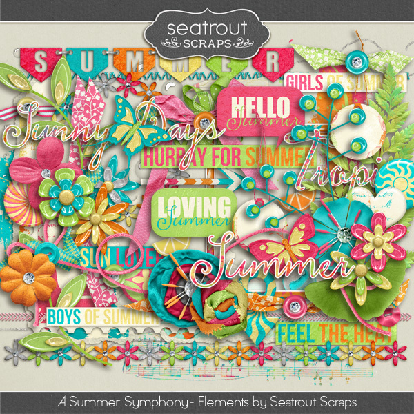 A Summer Symphony Elements Digital Art - Digital Scrapbooking Kits