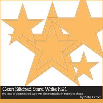 Clean Stitched Stars White No. 01 Digital Art - Digital Scrapbooking Kits