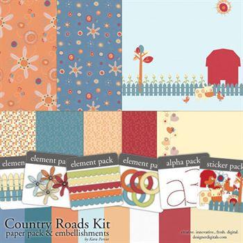 Country Roads Kit Digital Art - Digital Scrapbooking Kits