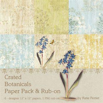 Crated Botanicals Paper Pack And Rub On Digital Art - Digital Scrapbooking Kits