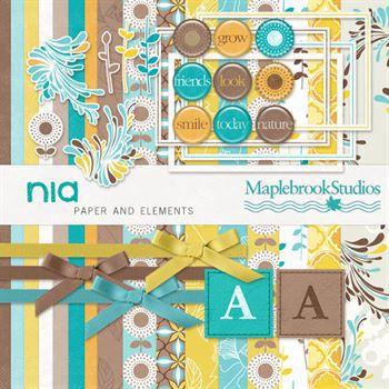 Nia Scrapbook Kit Digital Art - Digital Scrapbooking Kits