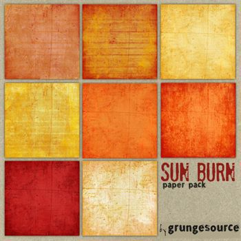 Sun Burn Paper Pack Digital Art - Digital Scrapbooking Kits