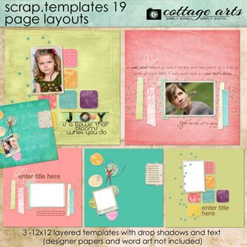 12 X 12 Scrap Templates 19 - Page Layouts Digital Art - Digital Scrapbooking Kits