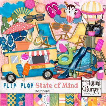 Flip Flop State Of Mind Scrap Kit Digital Art - Digital Scrapbooking Kits