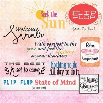 Flip Flops State Of Mind Word Art Digital Art - Digital Scrapbooking Kits