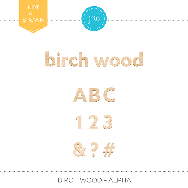 Birch Wood - Alpha Digital Art - Digital Scrapbooking Kits