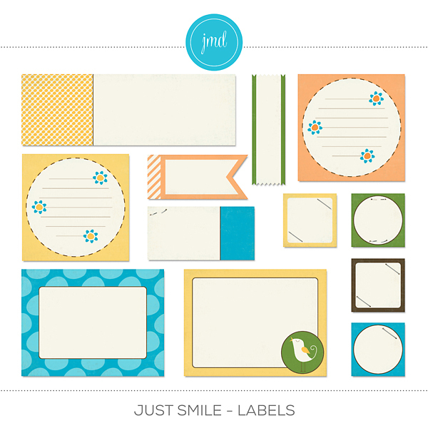 Just Smile - Labels Digital Art - Digital Scrapbooking Kits