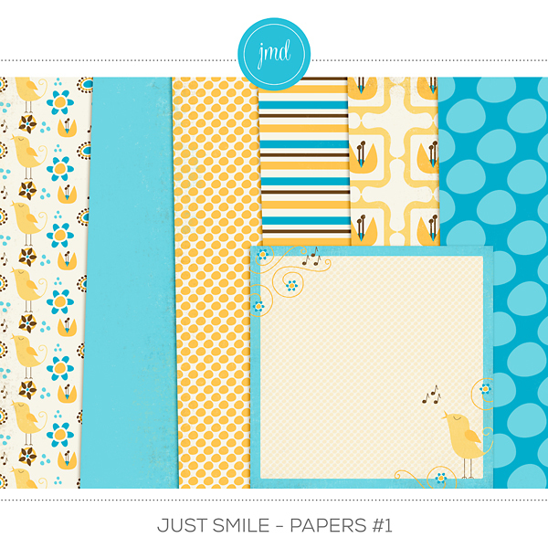 Just Smile - Papers #1 Digital Art - Digital Scrapbooking Kits