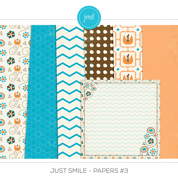 Just Smile - Papers #3 Digital Art - Digital Scrapbooking Kits