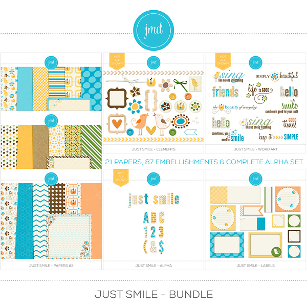 Just Smile Bundle Digital Art - Digital Scrapbooking Kits